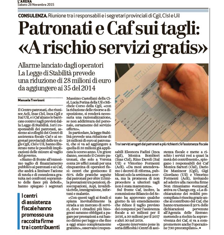 tagli - articolo l_arena 28-11-2015